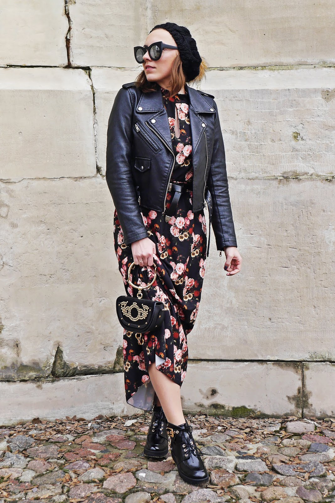 floral dress rock boots biker jacket outfit look karyn fashion blogger