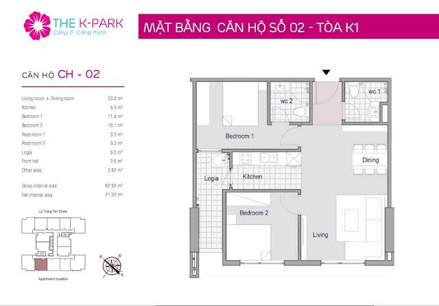 Thiết kế căn hộ 02-K1 chung cư THE K-PARK