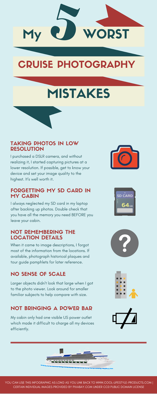 My 5 Worst Cruise Photography Mistakes (Infographic)