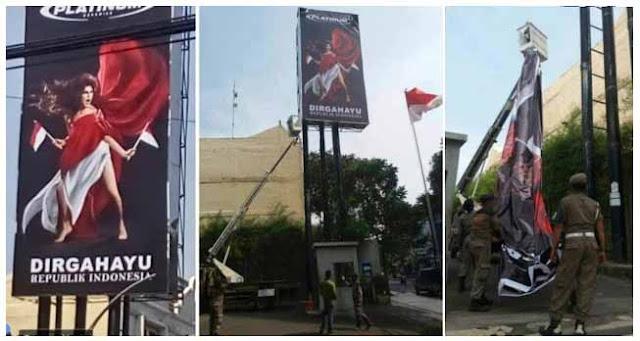 Setelah Diprotes Akhirnya Baliho Tak Senonoh Lecehkan Bendera RI Diturunkan Aparat
