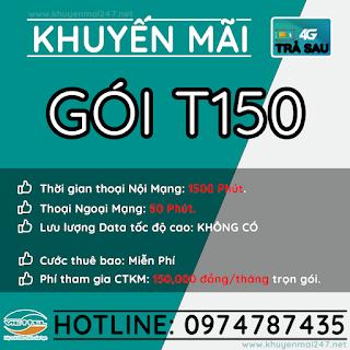 T150 - GÓI KHUYẾN MÃI TRẢ SAU VIETTEL T150