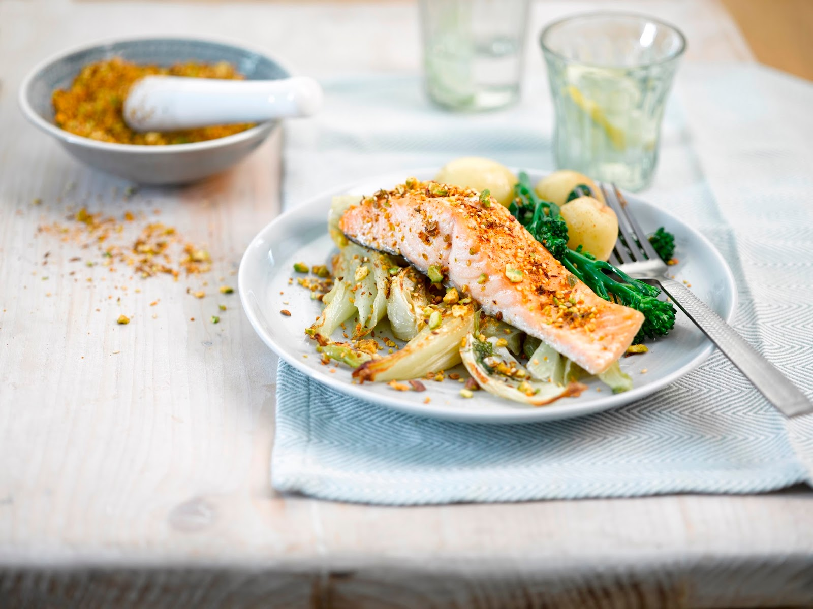 Roast Salmon With Fennel And Pistachio Dukkha...