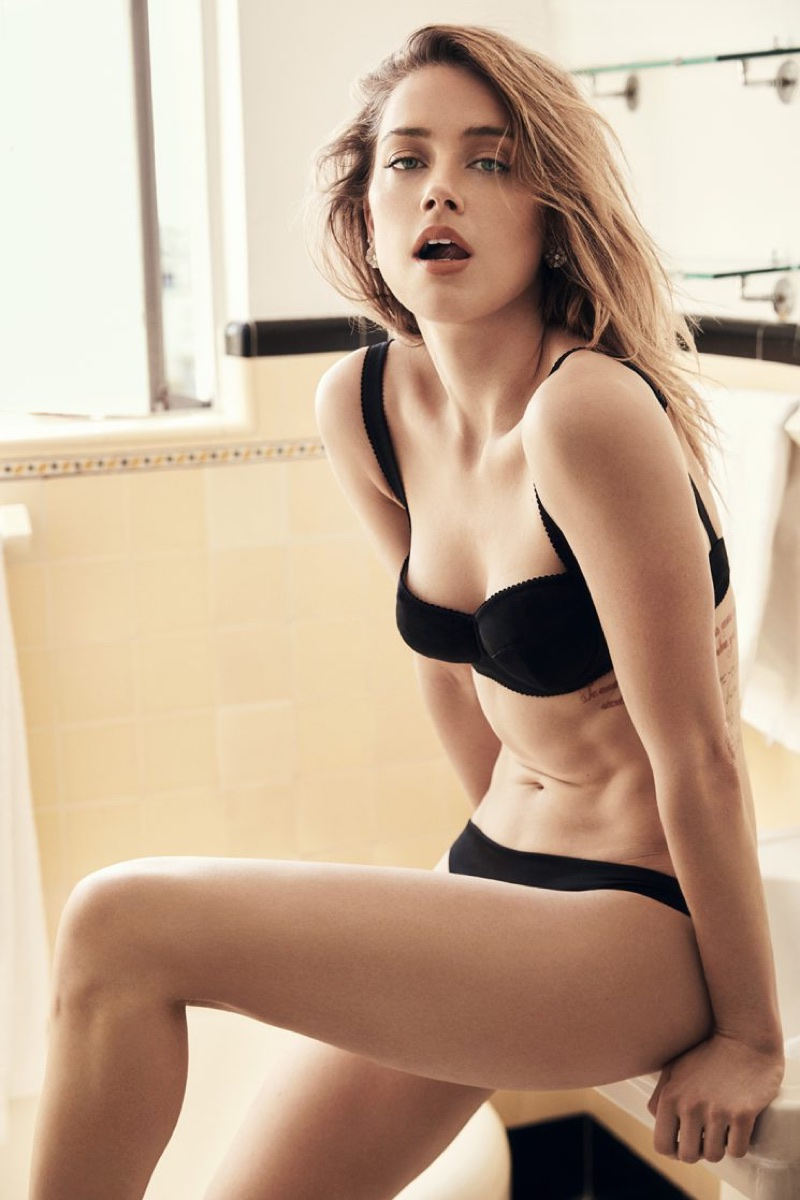 Actress Amber Heard poses in Dolce & Gabbana bra with Eres underwear