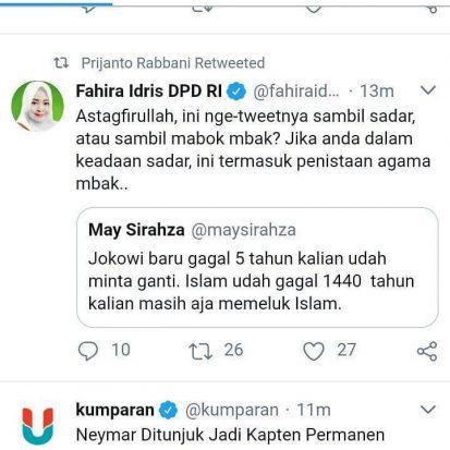 Diduga Menista Islam, Pemilik Akun Twitter Ini Ketakutan Setelah Dimention Fahira
