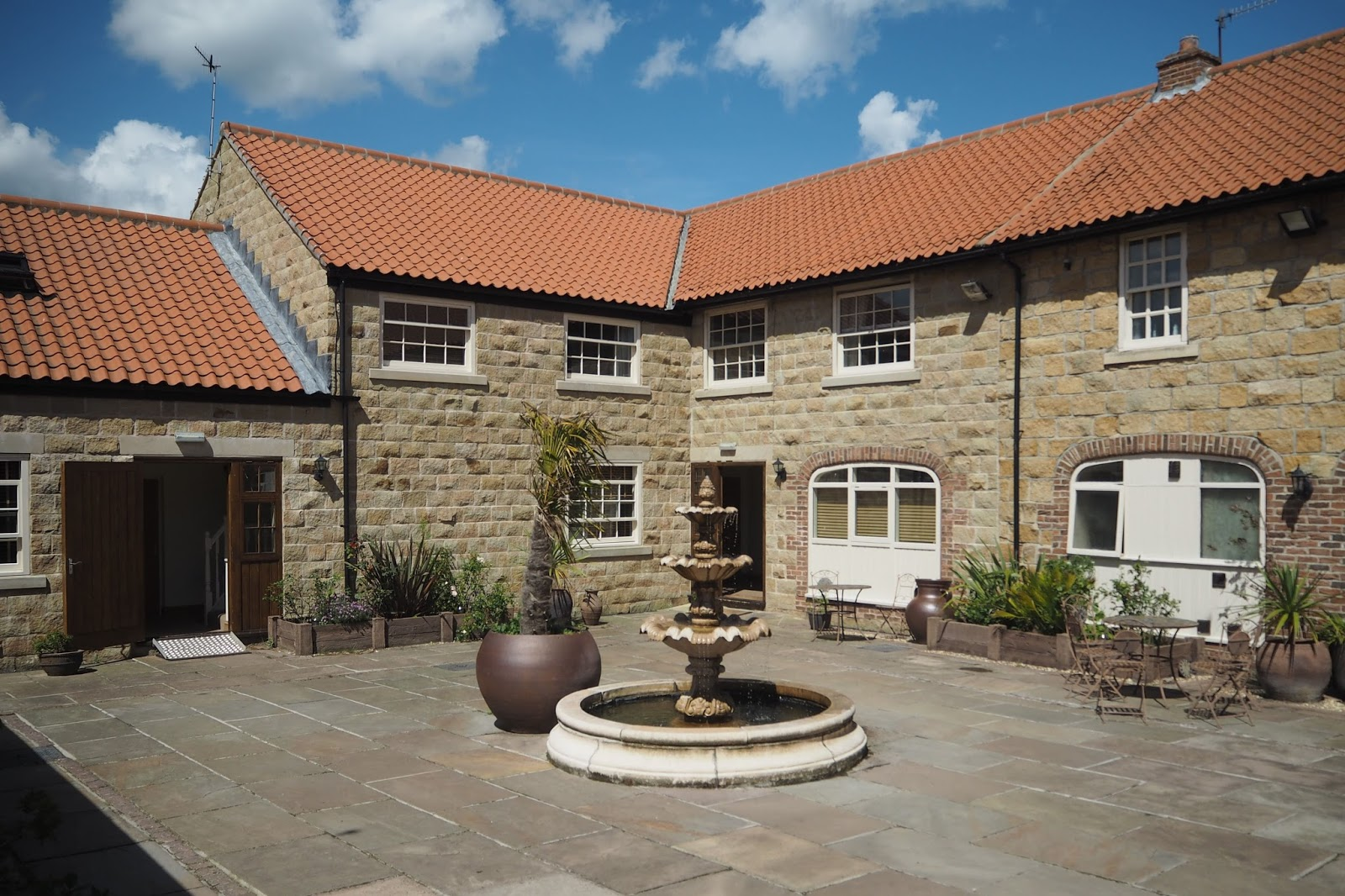 Outdoor courtyard Ox Pasture Hall Country Hotel, Scarborough, Yorkshire, romantic hotel near beach in Scarborough