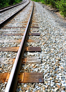Close up of the tracks along the Delaware River