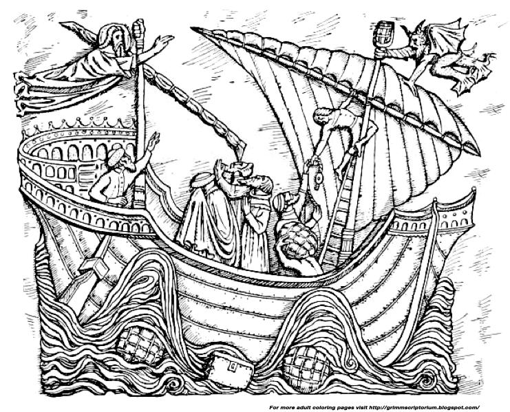 Adult Coloring Page A Storm At Sea The Grimm Scriptorium