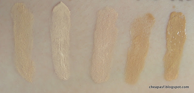 Swatches (left to right): Paula's Choice Resist Anti-Aging Foundation in Shade 1, Paula's Choice Resist Anti-Aging Foundation in Shade 0, Revlon Colorstay Foundation in Ivory, Paula's Choice All Bases Covered Foundation in Nude, Paula's Choice All Bases Covered Foundation in Sand