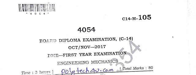 SBTET AP ENGINEERING MECHANICS OLD QUESTION PAPER OCT-NOV 2017