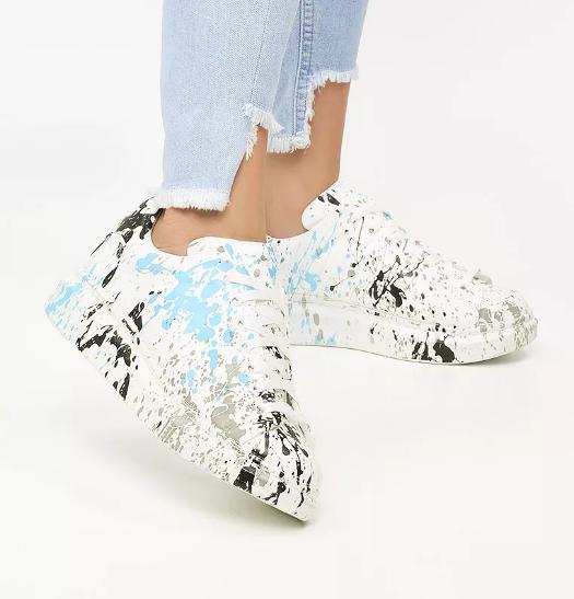 Adidasi moderni albi cu imprimeu colorat de vara pentru femei