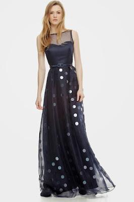 vestido largo azul marino pailettes
