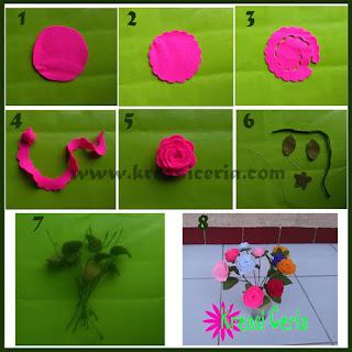 Inilah tutorial cara membuat hiasan bunga mawar dari flanel