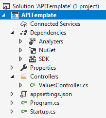 asp.net core mvc template vs api template