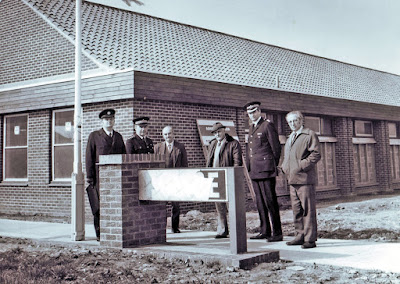 Brigg police station nearing completion in 1978 with Chief Insp Bill Horsfield second from the left.