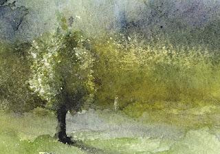 スクラッチで描いた木 光った葉っぱをスクラッチ