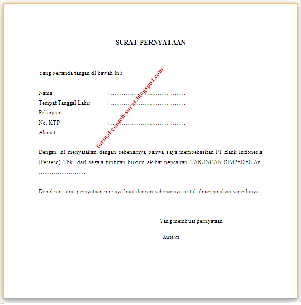 Surat Pernyataan Membebaskan Bank Dari Segala Tuntutan