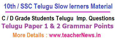 10th / SSC Telugu Imp Questions for AP / TS C/ D Grade Students Material 2019-20