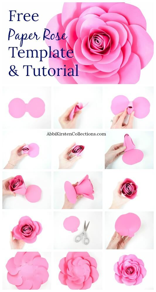 Making paper flowers with cricut httpsabbikirstencollections201805free large paper rose templateml mightylinksfo