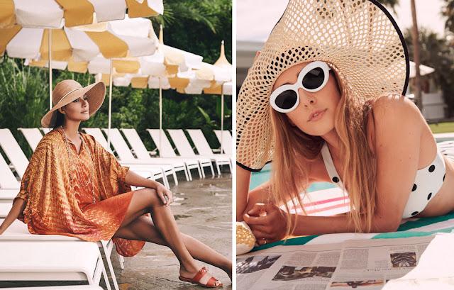 Девушка в летней соломенной широкополой шляпе на пляже