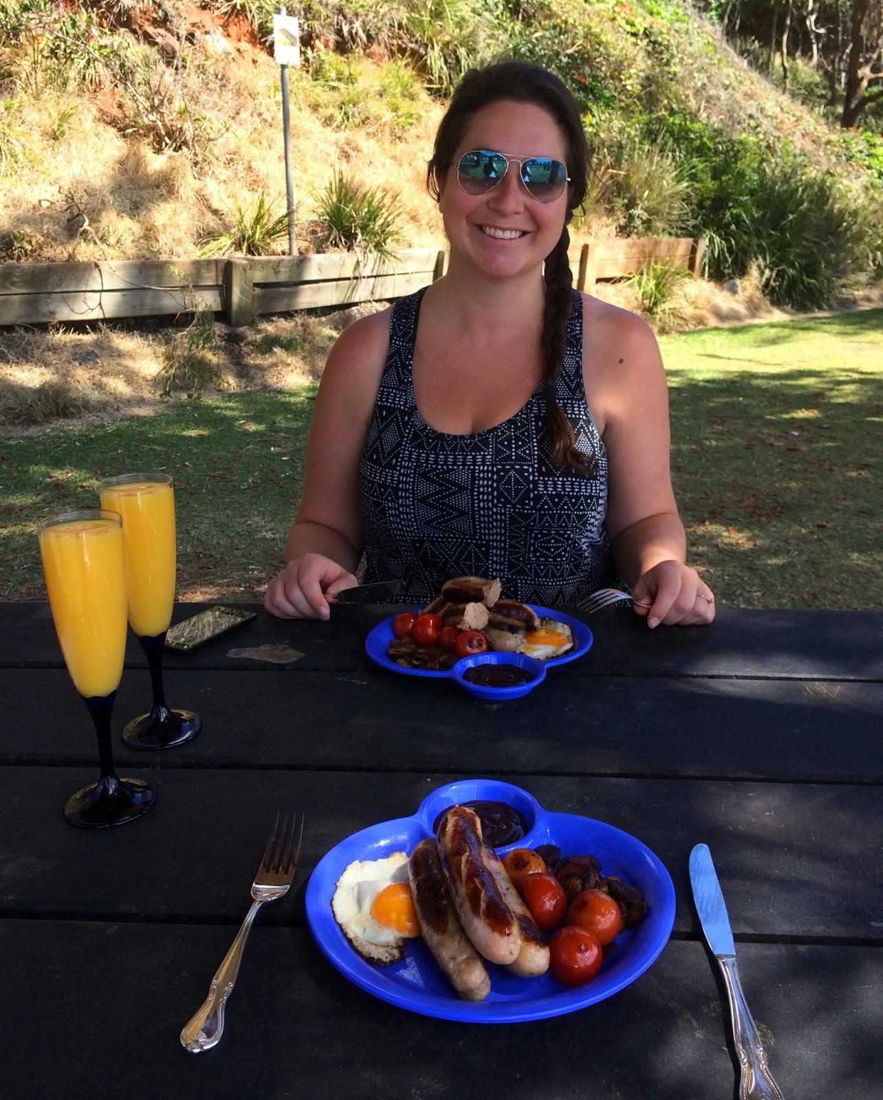 Girl having beach BBQ Port Macquarie