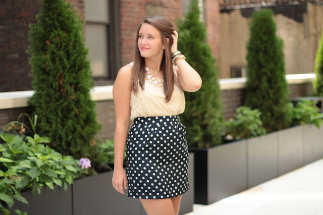 f21 polka dot shirt, statement necklace, bauble bar necklace, double dots, double polka dots