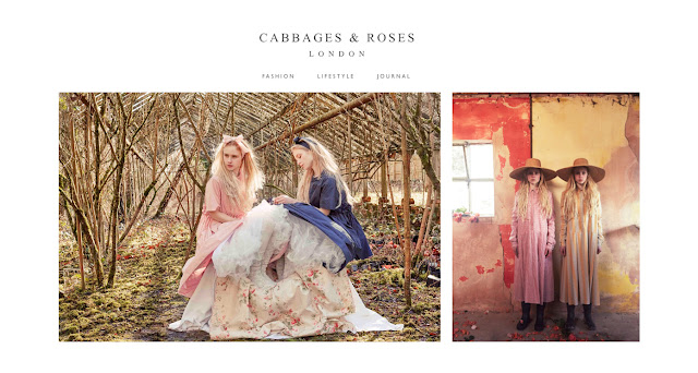 A screenshot of the Cabbages and Roses homepage.