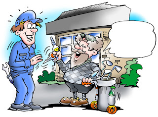Clipart Image of a Senior Golfer Talking to a Mechanic With an Empty Speech Bubble