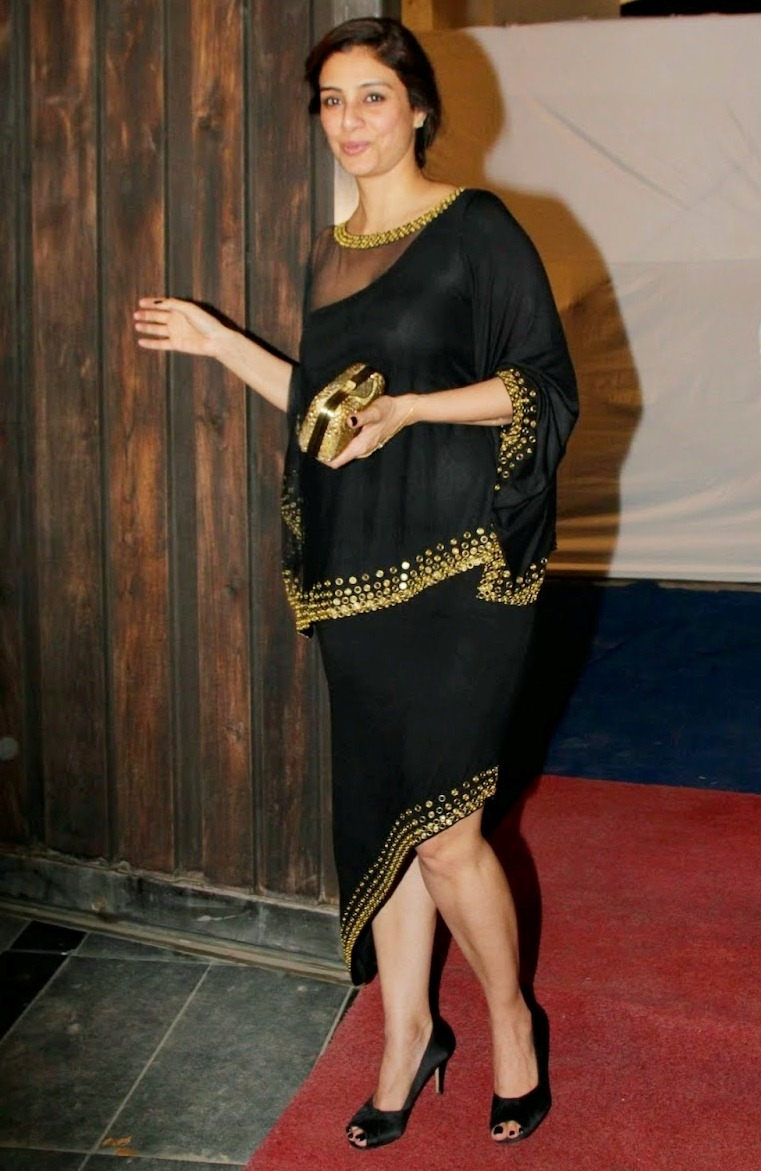 Tabu In Black Dress At Phantom Productions Party Mumbai