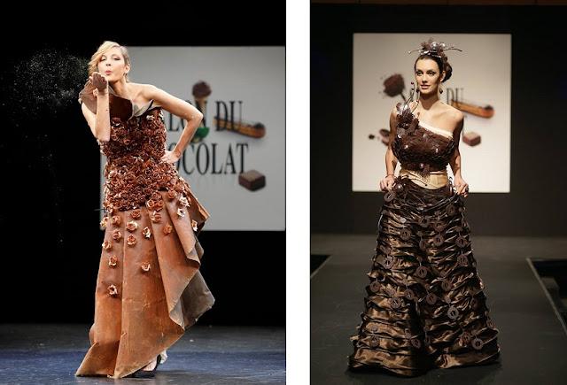 pokaz mody, stroje z czekolady