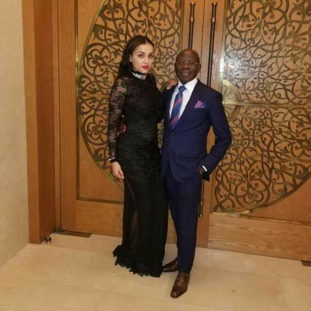 Online Users React As Adams Oshiomhole Poses With His Pretty Wife (Photos)