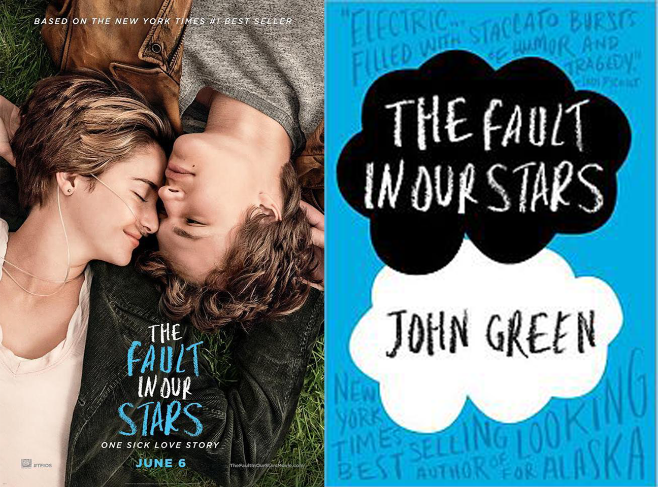 The Fault in our Stars Book Cover and Movie Poster at http://ohanareads.blogspot.com/2014/07/the-fault-in-our-stars-movie-review.html