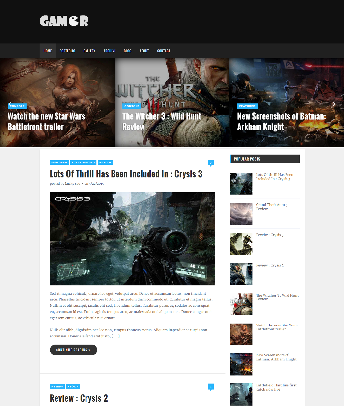 GAMER : A GAMING THEME FOR BLOGGER