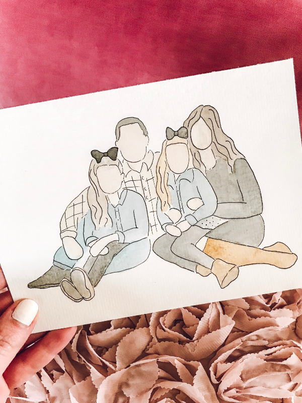 watercolor family portrait, family photos, north carolina blogger, mom blogger, style blogger