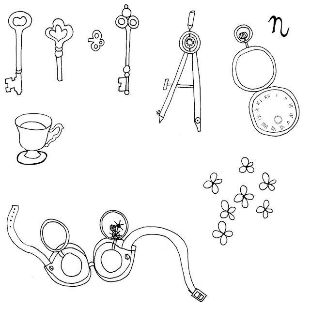 steampunk, sketches, pattern design, process, Anne Butera, My Giant Strawberry
