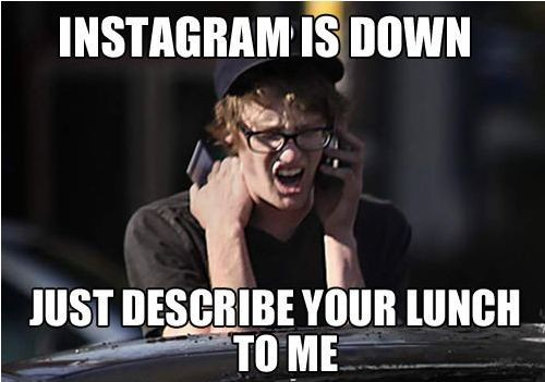 Funny Instagram Picture - Instagram is down.  Just describe your lunch to me