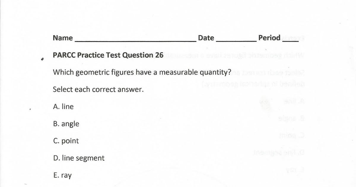 Geometry, Common Core Style: PARCC Practice Test Question