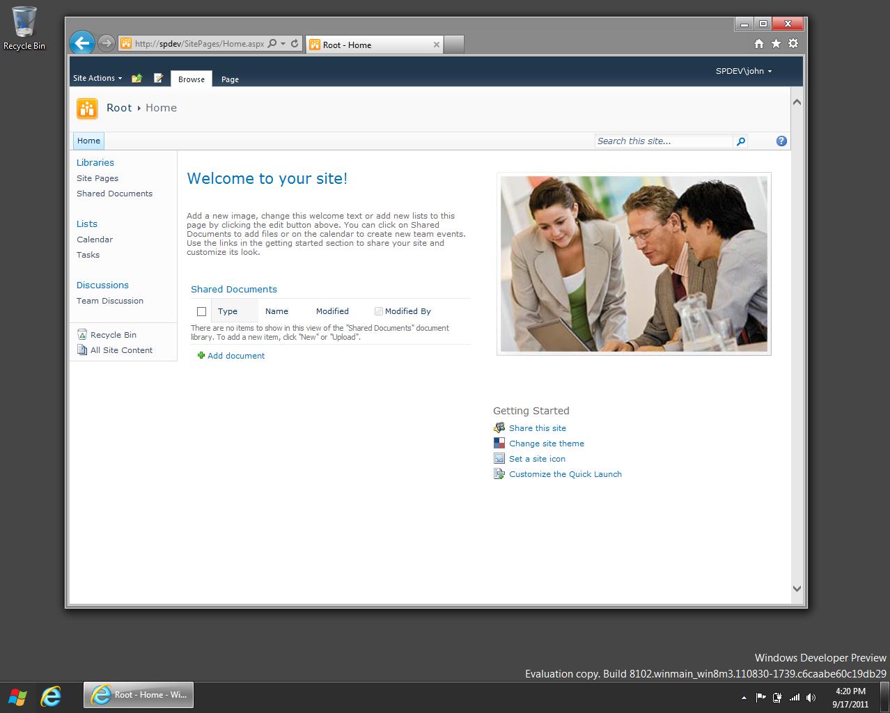 installez sharepoint 2010 sur Windows 8 64 bits