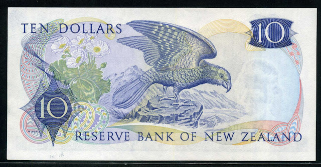 New Zealand currency 10 Dollars banknote