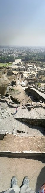 Things to see in Hyderabad India: vertical panorama of Golconda Fort