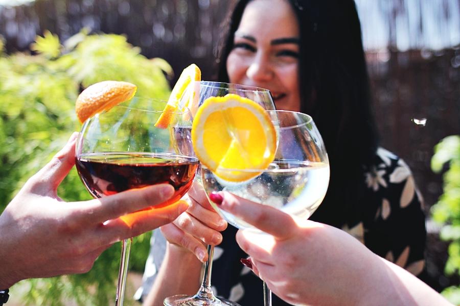 freunde spaß martini aperitif drink