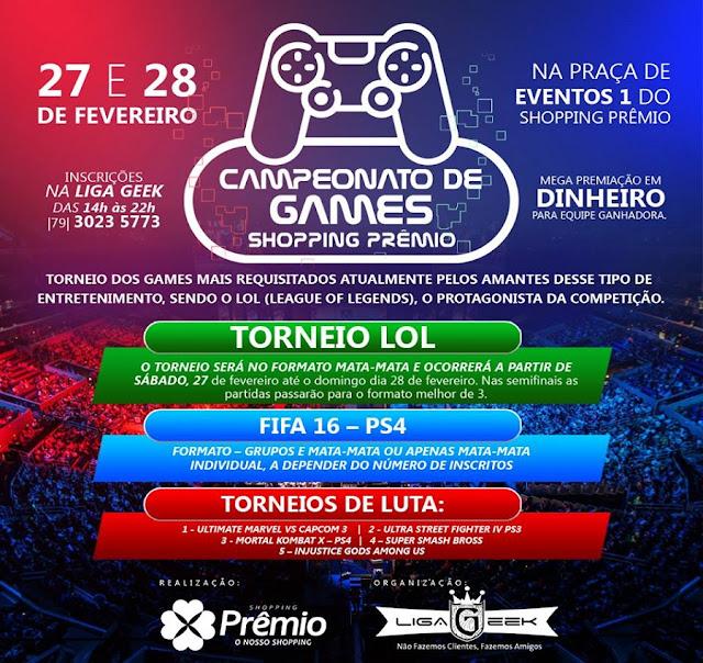 Torneios Festival de Games acontecerá no Shopping Prêmio