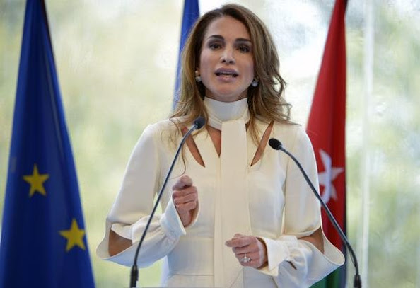Queen Rania of Jordan delivers her speech at the Medef Summer Conference