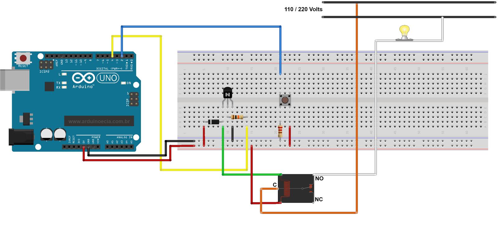 Circuito Arduino relé lâmpada