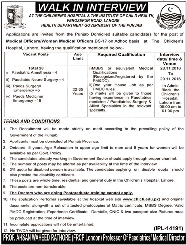 Children Hospital and Institute of Child Health Lahore Jobs