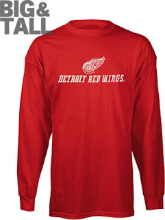 Big and Tall Detroit Red Wings Long Sleeve Shirt