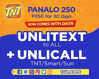 TNT P250 Panalo 250 – 30 days Unlitexts to All, Unli Call and 1GB of Data