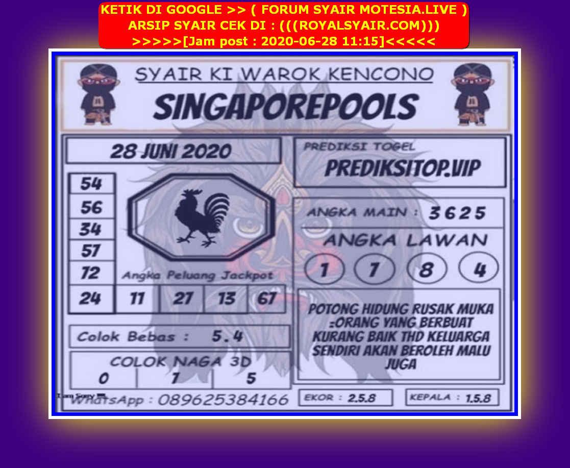 Kode syair Singapore Minggu 28 Juni 2020 119