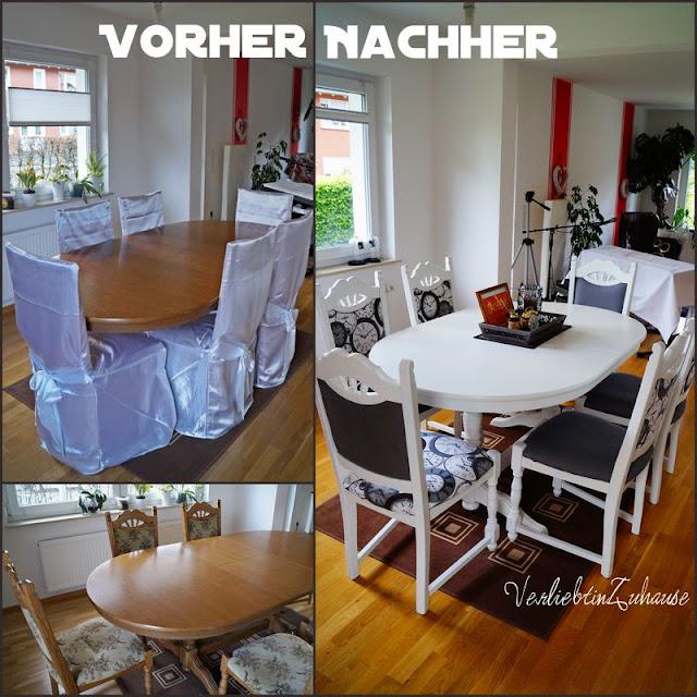 Tisch und alte Stühle neu gestalten und verschöneren. Streichen, lackieren und mit Stoff neu beziehen. Selbst Aufpeppen und verschönern