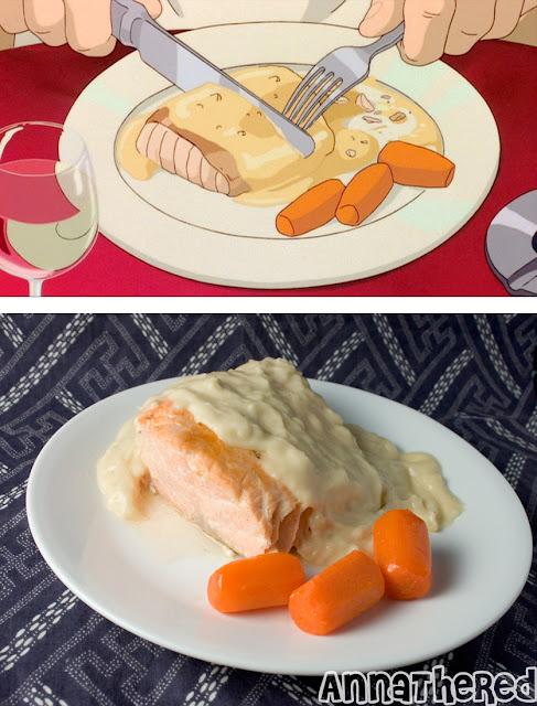 Salmón con salsa Bechamel y zanahoria glaseada de Porco Rosso