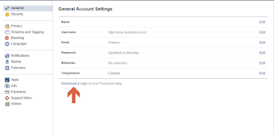 Download Your Facebook Account Data / Archive For Friends Verification and Account Security 2016